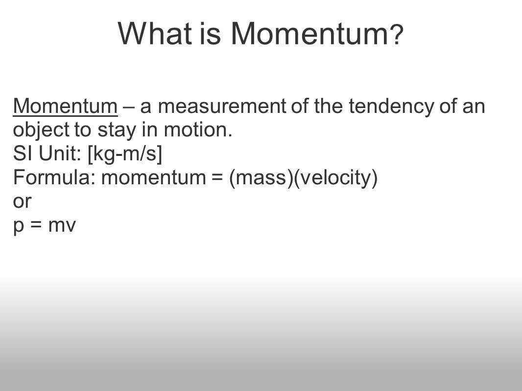 Momentum impulse work power ppt video online download what is momentum momentum a measurement of the tendency of an object to stay in buycottarizona